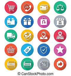 kleur, e-handel, plat, iconen