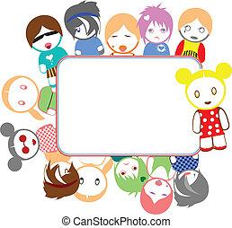 kleur, emo, geitjes, frame
