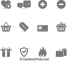 kleur, enkel, -, ecommerce, iconen