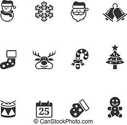 kleur, enkel,  -, Kerstmis, iconen