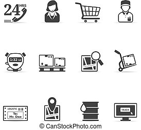 kleur, enkel, -, logistiek, iconen