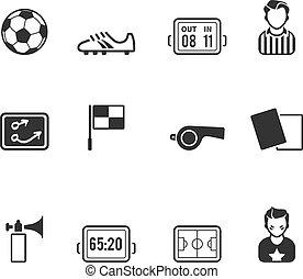 kleur, enkel, voetbal,  -, iconen