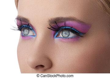 kleur, eyes, closeup, opmaken