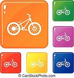 kleur, fiets, vector, set, iconen