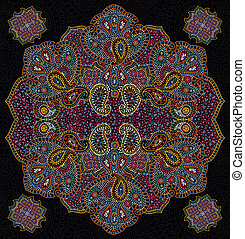 kleur, floral, paisley, seamless, textuur