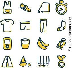 kleur, freehand, rennende , 2, iconen