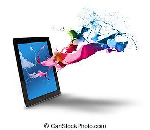 kleur, gespetter, computer, tablet