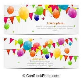 kleur, glanzend, ballons, achtergrond, vector, illustratie