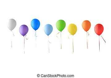 kleur, glanzend, ballons