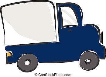 kleur, groot, illustratie, vector, vrachtwagen, of