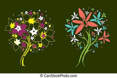 kleur, grunge, bomen