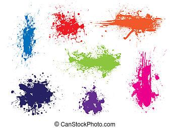kleur, grunge, splat, inkt