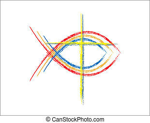 kleur, grunge, visje, christen, symbolen