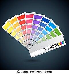 kleur, guide., palet, kaarten, catalogus