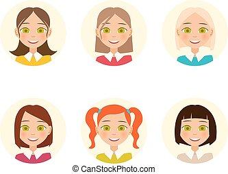 kleur, hairstyles., haar, vector, womens, faces.