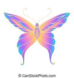 kleur, helder, vrijstaand, witte , vleugels, vlinder, achtergrond, blauwe , helling, sinaasappel, paarse , patterned