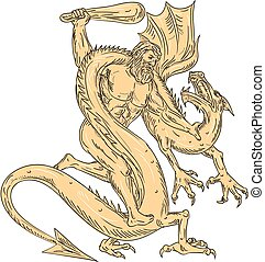 kleur, hercules, tekening, vecht, draak