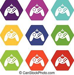 kleur, hexahedron, set, gamepad, pictogram