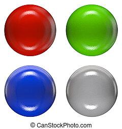 kleur, hoofden, klinknagel, plastic