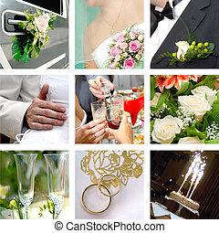 kleur, huwelijk foto, set