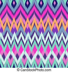 kleur, ikat, zigzag, koel