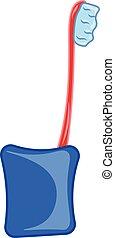 kleur, illustratie, tandenborstel, vector, stander, of, rood