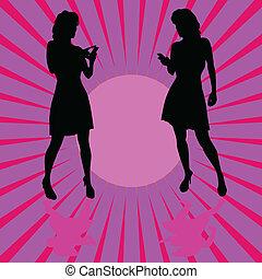 kleur, illustratie, telefoon, vector, achtergrond, meisje