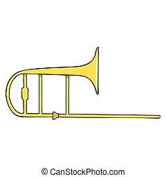 kleur, -, instrument, hand-drawn, trombone., muzikalisch