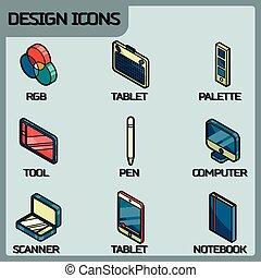 kleur, isometric, ontwerp, schets, iconen