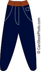 kleur, jeans, illustratie, groot, vector, zakken, of