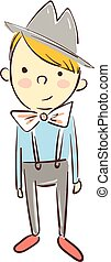 kleur, jongen, vector, illustration., hoedje