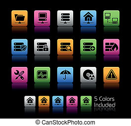 kleur, kelner, hosting/, netwerk, doosje, &