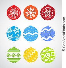kleur, kerstmis, verzameling, baubles