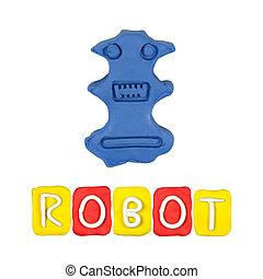 kleur, kinderen, robot, plasticine, op, een, witte achtergrond