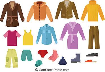 kleur, kleding, verzameling, mens