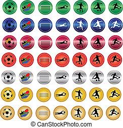 kleur, knopen, voetbal