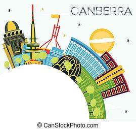 kleur, kopie, skyline, hemel, canberra, gebouwen, stad, ...
