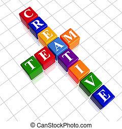 kleur, kruiswoordraadsel, creatief, zoals, team