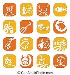 kleur, landbouw, en, landbouw, iconen