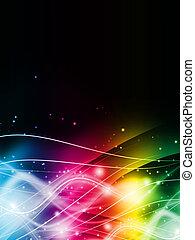 kleur, licht, abstract, zwarte achtergrond