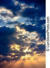 kleur, licht, hemel, zonnestraal, schemering, wolk, straal