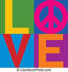 kleur, liefde, vrede, blok
