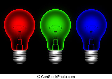 kleur, lightbulbs