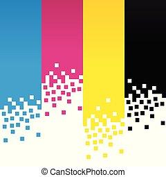 kleur, lijnen, cmyk, ontwerp, achtergrond, digitale