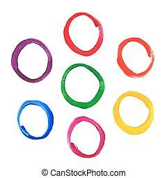 kleur, lijstjes, acryl, ronde