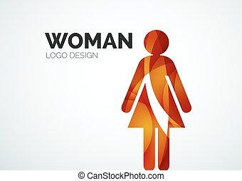 kleur, logo, abstract, vrouw, pictogram