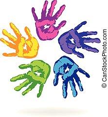 kleur, logo, alles, vector, handen