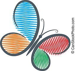 kleur, logo, butterfly.