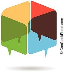 kleur, logo, kubus, toespraak