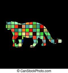 kleur, luipaard, silhouette, dier, wildcat